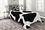ABAKUHAUS Kuh-Druck Tagesdecke Set, Weiß Kuhfell Barn, Set mit Kissenbezug Mit Digitaldruck, für Einzelbetten 170 x 220 cm, Schwarz-Weiß