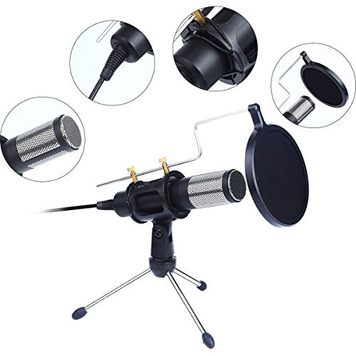 SANRENXING Microfoon, USB-condensatormicrofoons met popfilter en statiefstandaard, professionele pc-microfoon voor laptop, conferentie, spraak, opname en podcast