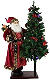 """Fraser Hill Farm 60"""" Animated Santa Claus with 66"""" Pre-Lit Christmas Tree On Base, Life-Size Holiday Home Decorations, FFPL060-1ST-TR, Color 3"""