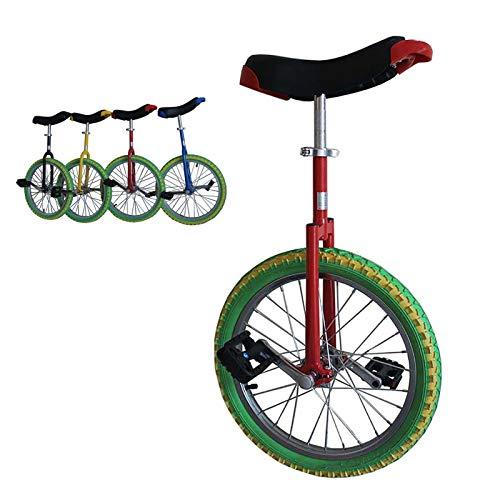 Einrad Jungen/Mädchen/Kind Farbiges Einrad, Anfänger (7/8/9/10/12 Jahre Alt) 18/16 Zoll Laufrad, mit Alufelge & Ständer, Extra Dicker Reifen (Color : Red+Green, Size : 16inch)