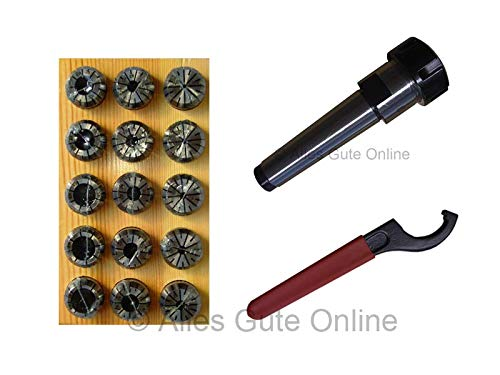 Spannzangenfutter MK3 M12 DIN228A ER25 + ER25 430E Spannzangen-Set HL (15 St.)+ Schlüssel H