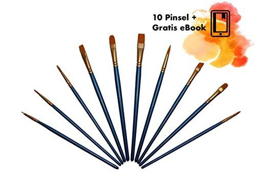 kelter Premium Pinsel-Set, 10 STK, inklusive EBOOK, hochwertiges Pinselset aus Nylon für Wasserfarben, Acryl und Ölfarben, optimal für Künstler, Anfänger, Kinder, Schule und Hobby