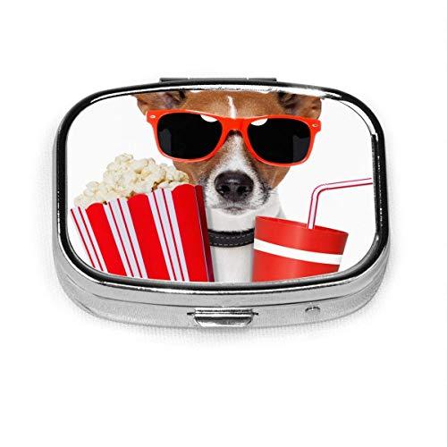 Cane guardando film animali selvatici divertente sport ricreazione 2 slot medicina scatola quadrata metallo pillola piccola medicina caso vitamina scatola per viaggi all'aperto