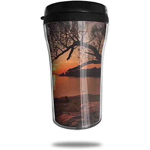 Zwarte Boom In de buurt van de Oceaan Reizen Koffie Mok Gedrukt Draagbare Vacuüm Beker, Geïsoleerde Thee Cup Water Fles Tumblers voor Drinken