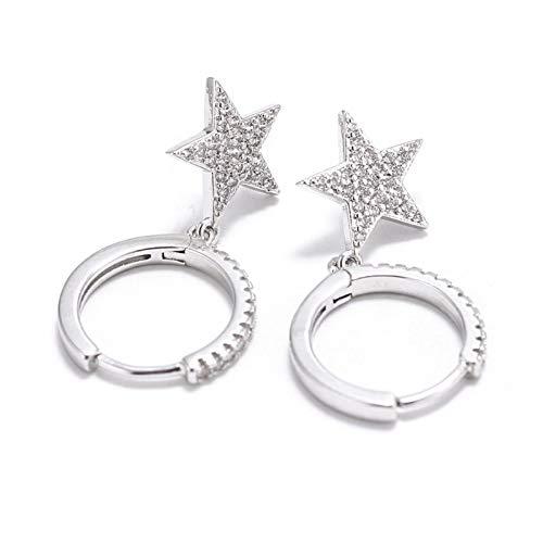 XUNUO Pendientes de la Estrella Pendientes de Cristal CZ, Formas geométricas exquisitas y Lindas, hipoalergénicas, adecuadas para Damas y niñas para Usar Todo el día