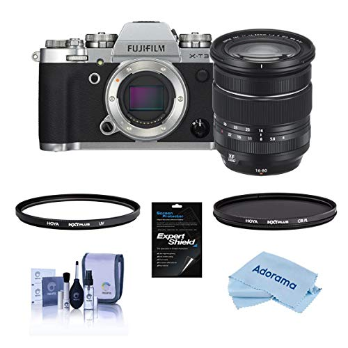 Fujifilm X-T3 Mirrorless Digital Camera with XF 16-80mm f/4 R OIS WR Lens and Filter Kit, Silver
