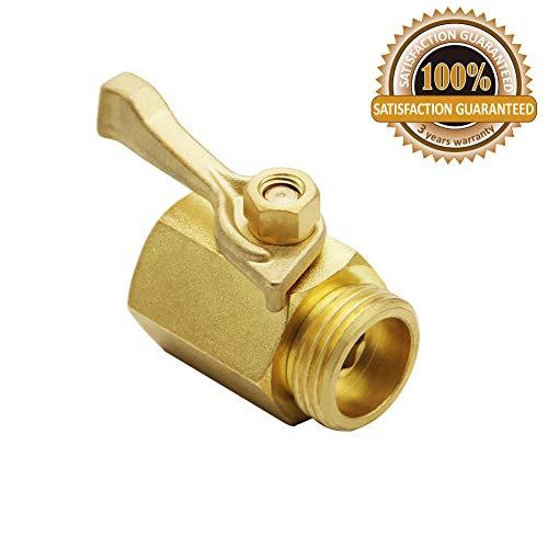 Twinkle Star Super Heavy Duty 3/4' Brass Shut Off Valve Garden Hose Connector, TWIS3005