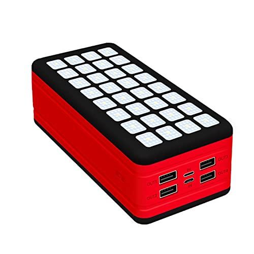 YOUR SUN Banco de energía Solar 99000mAh, Cargador Solar Doble USB Cargador de Emergencia al Aire Libre de Alta Capacidad Portátil Impermeable Cargando con luz LED 4USB Powerbank (Color : Red)