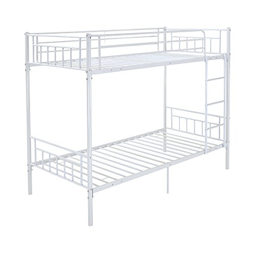 Panana Bunk Bed 3FT Single Bed Frame Metal Bed Frame High Sleeper Loft Bunk Bed Twins Size Bed for Kids Childeren Adults Bedroom Furniture (White)