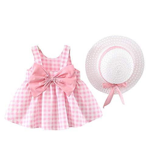 Vestido de Verano para niña Elegante Imprimiendo Arco sin Mangas Vestido De Princesa Vestidos Playa + Sombrero de Sol con Lazo Conjunto (Moño Rosa, 2-3 Años)
