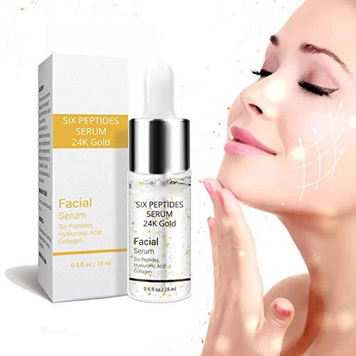 Crema facial de suero de seis péptidos de oro de 24 quilates, suero para el cuidado de la piel de la cara, suero de vitaminas para el estiramiento facial de 15 ml hialurónico (1PCS)