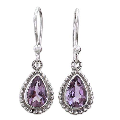 NOVICA Teardrop Shape Amethyst .925 Sterling Silver Dangle Earrings 'Radiant Lilac' New Hampshire