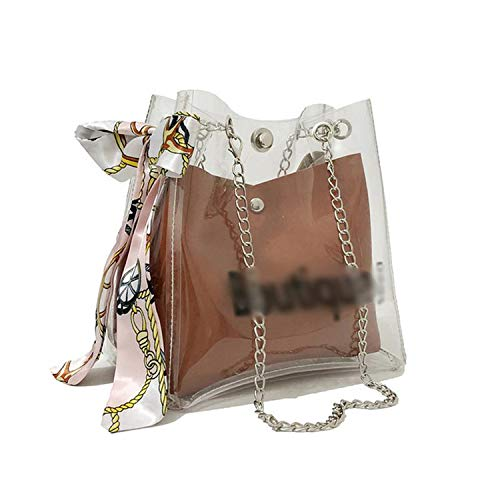2019 version of the bag sweet scarf transparent features small fresh mother-in-law multi-function back,Brown