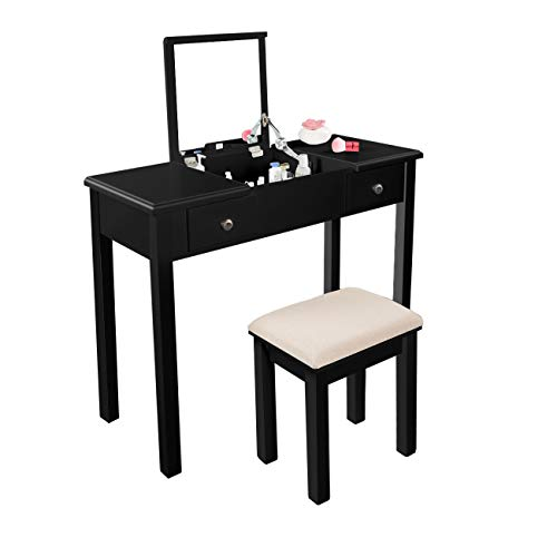 AODAILIHB Vanity Table with Flip Top Mirror Makeup Dressing Table Writing Desk with Cushioning Makeup Stool Set, 2 Drawers 3 Removable Organizers Easy Assembly (Black-2)