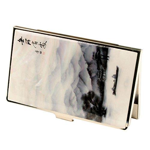 Tarjetero de Madreperla Diseño Barco Lago Pintura Asiática en Metal de Acero Inoxidable Delgado Grabado para Tarjetas de Crédito Tarjetas de Negocio Billetera para Dinero