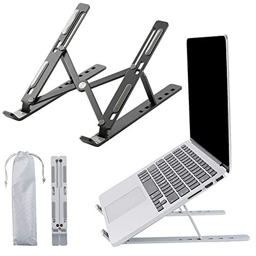 XIAYANG 6 Ángulos Ajustable Portatil Laptop Stand, Aleación de Aluminio Plegable Ventilado Soporte Ordenador Portátil -para Adecuado para computadoras de 10 a 15,6 Pulgadas(Color:Negro)