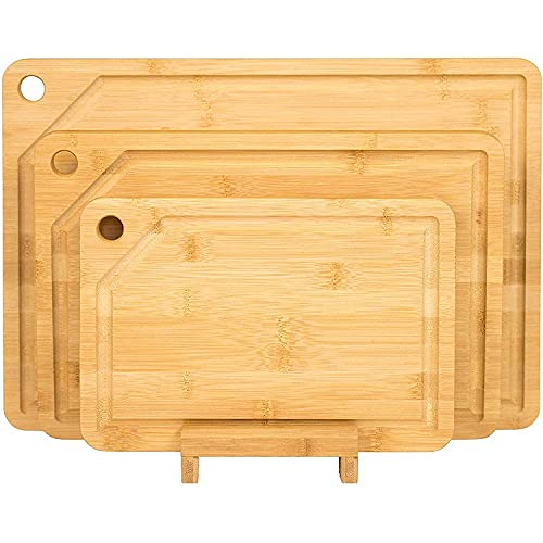 Unibos Premium Extra-Thick Chopping Boards with Juice Grooves - 3 Piece Bamboo Chopping Board Set - 38x26cm / 30x20cm / 23x15cm - Ideal for Carving Meat, Cutting Vegetables, Cheeses and Bread