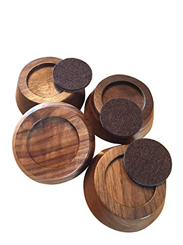 Prime Woodcraft Walnut Wood Premium Furniture Risers (4 Pack) | Adds 1 Inch Extra Height for Cleaning & Convenience | Bed Risers, Desk Riser, Table Risers, Furniture Legs, Sofa Risers | Heavy Duty