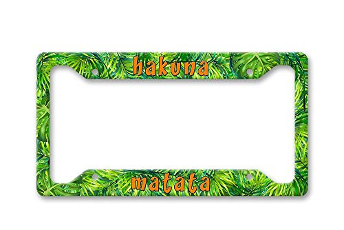 Fhdang Decor Hakuna Matata Bright Realistic Tropical Palm Leaves All Over Pattern Print Disney Inspired Auto Car License Plate Frame, 6' x 12'
