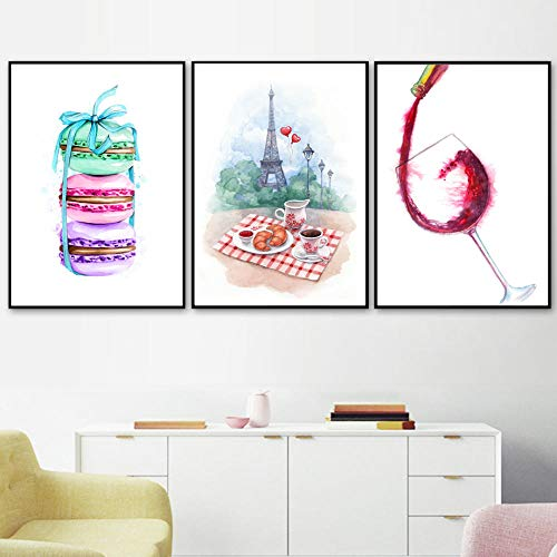 ZLARGEW Acuarela Paris Macaron Café Croissant Vino Carteles nórdicos e impresión Arte de la Pared Pintura en Lienzo Imagen de la Pared Cocina Decoración del hogar - 21x30cmx3 Sin Marco
