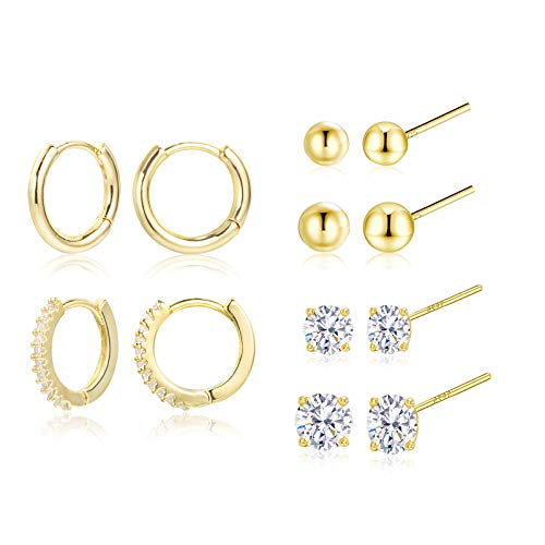Earring Sets for Multiple Piercing   14K Gold Plated Studs Earrings and Hoops Set Hypoallergenic Small Hoop CZ Ball Studs Earrings for Women Girls(6 Pairs)