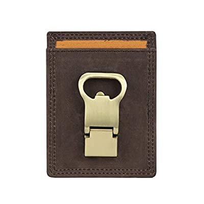 Timberland PRO Men's Leather Front Pocket Wallet with Money Clip, Dark Brown, One Size