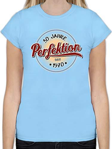 Geburtstag - 50 Jahre Perfektion seit 1970 - L - Hellblau - L191 - Tailliertes Tshirt für Damen und Frauen T-Shirt