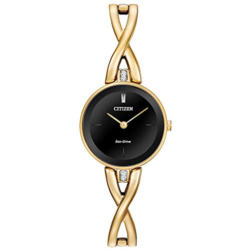 Citizen Eco-Drive Axiom Quartz Womens Watch, Stainless Steel, Crystal, Gold-Tone (Model: EX1422-54E)