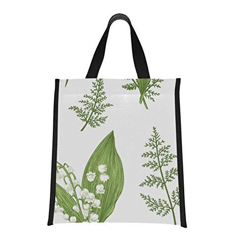 Bolsa de almuerzo para mujer Bolsa de flores de lirio de los valles Bolsa de almuerzo Bolsa de almuerzo para hombres Reutilizable, plegable Mantiene la comida caliente/fría para mujer