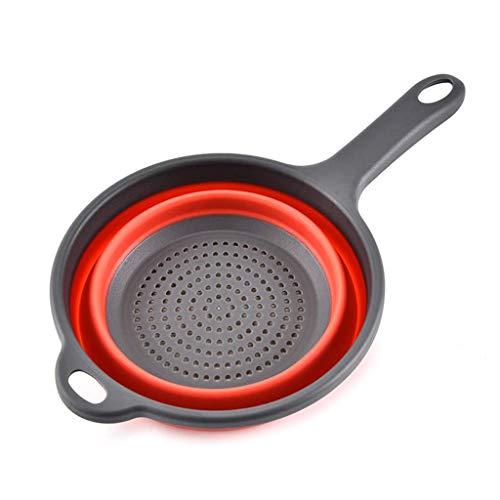 Utensilios de cocina, colador redondo plegable de silicona para fregadero de la cesta de drenaje de frutas de lavado de cocina colador de té con asas de almacenamiento doméstico herramientas de drenaje suministros nyfcc R