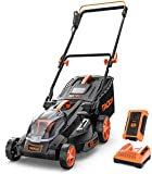 TACKLIFE Lawn Mower, 16-Inch 40V Brushless Lawn Mower, 4.0AH Battery, 6 Mowing Heights, 3 Operation Heights, 10.5Gal Grass Box …