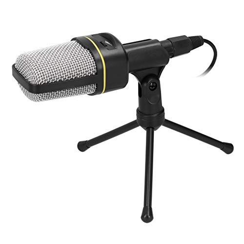 Micrófono con trípode, micrófono de condensador de grabación de estudio, micrófono de puerto de audio de 3,5 mm con trípode de escritorio,para grabación por computadora(negro)