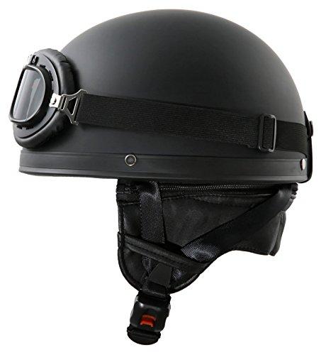 Oldtimer Motorradhelm mit Brille Schwarz1 matt Größe: S +++B-Ware+++