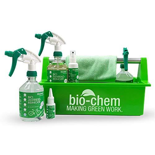 Bio-Chem Premium Fahrradpflege-Set 7-teilig Fahrradreiniger Antriebsreiniger Antriebsentfetter Antriebsöl Fahrradpflege mit Mikrofasertuch und Werkzeugbox 1,63 L für jedes Fahrrad und E-Bike