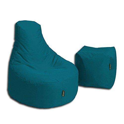 BuBiBag Sitzsack Stillkissen Set Kissen Lounge Gamer Sitzsack Sessel original Sitzkissen In & Outdoor geeignet fertig befüllt in 32 Farben (Petrol)