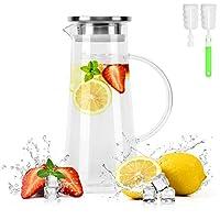 bonnacc caraffa in vetro 1,5 litri con coperchio in acciaio inossidabile 304 tè brocca d'acqua calda fredda acqua vino caffè latte e succo caraffa per bevande con filtro e pennello (1500ml)