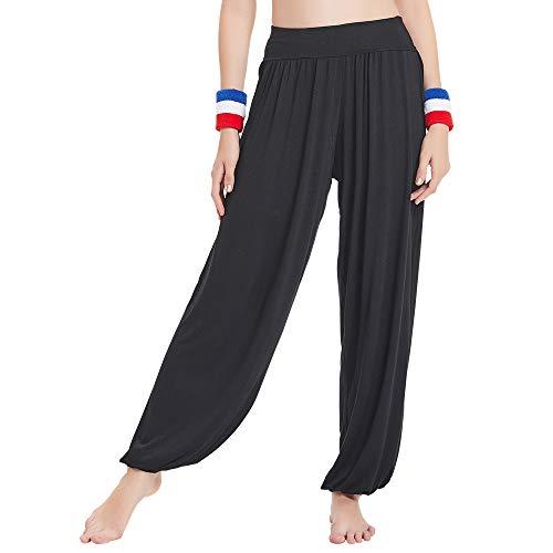 HANERDUN Damen Modal Elastische weiche Yoga-Harem-Sporthose mit zwei Taschen Gr. XL, Schwarz