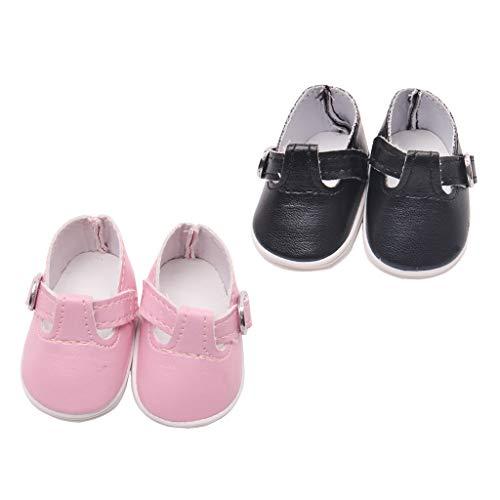 2 Paar Puppen Schuhe PU Sneakers Für 14,5 Zoll Mellchan Babypuppe - Schwarz & Rosa