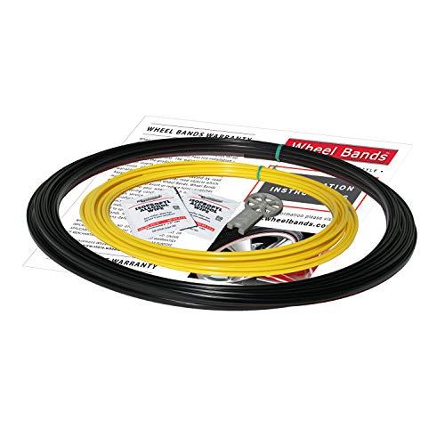 RIMPRO-Tec, Protectores de llanta y Protectores de llanta, reducen el daño de los bordillos, 4 Rayas Interiores + Base 4X, Protector para Ruedas de automóvil. (Yellow)