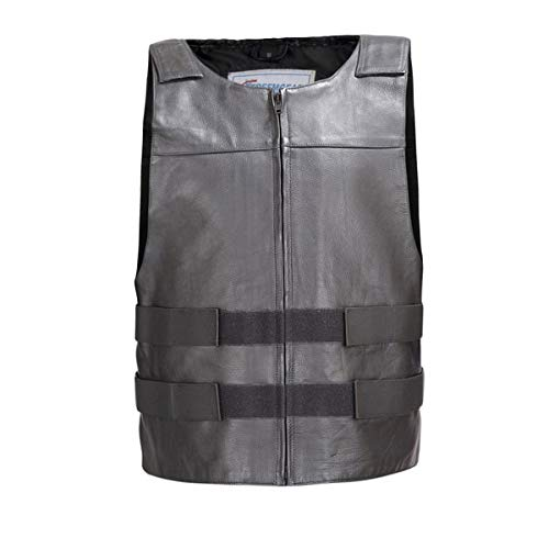 Men Leather Motorcycle Biker Tactical Street Vest Bullet Proof Style Black V115 (M)