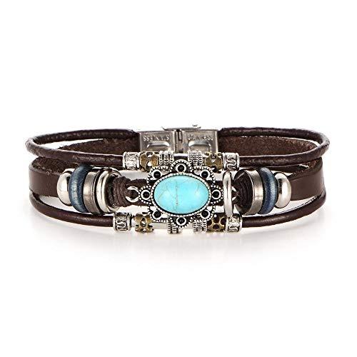 HYZDR Bracelet Mehrschichtiges Lederarmband Männer Münze Handgemachte Charms Armbänder Wickelseil Armbänder Einstellbare Schmuckzubehör