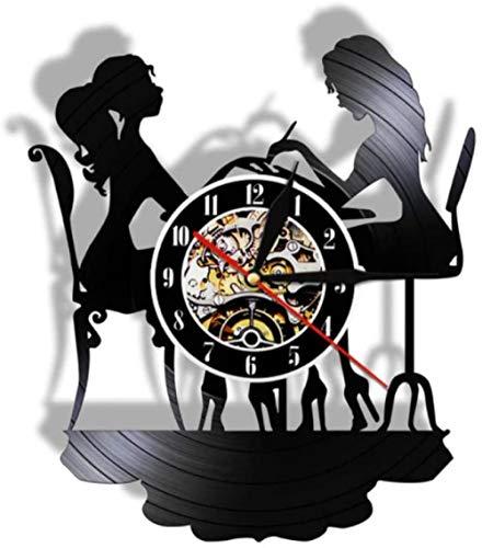 Reloj de pared de vinilo para mujer, diseño relajado, ideal para amantes de la música, reloj LP de 30,48 cm, color negro