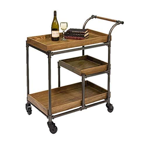 BXU-BG Carro de madera maciza para hotel, restaurante, carrito de comida creativa, carrito de té, hogar, estilo retro antiguo (tamaño: 45 x 88 x 75 cm)