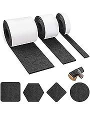 3 rollen zelfklevende viltglijders, zwart vilt (100 cm x 10 cm + 100 cm x 5 cm + 100 cm x 2 cm) voor stoelen, meubelschuiven, vloerbescherming, snijd elke vorm. zwart.