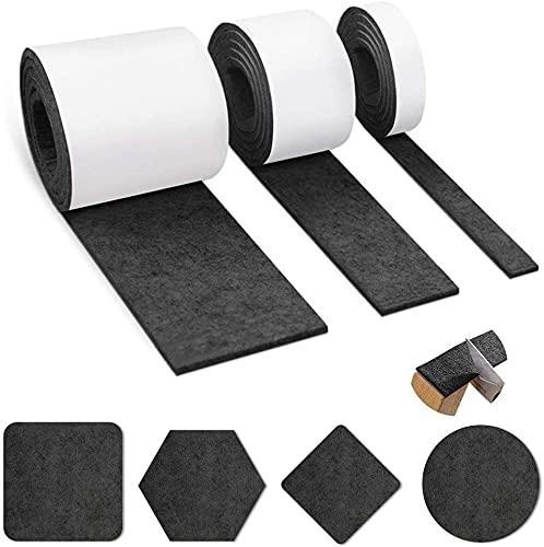 3 rollos de fieltro autoadhesivo negro (100 cm x 10 cm + 100 cm x 5 cm + 100 cm x 2 cm) para sillas, deslizadores de muebles, protectores de suelo, corte cualquier forma.