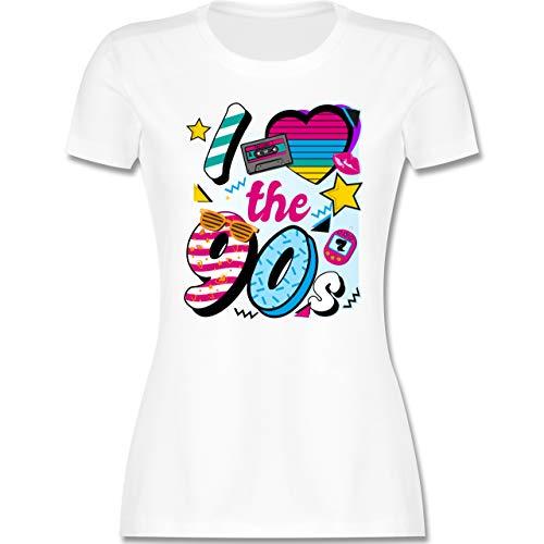 Statement - I Love The 90s bunt - S - Weiß - i Love The 90s t-Shirt - L191 - Tailliertes Tshirt für Damen und Frauen T-Shirt