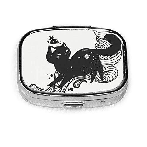 Cute Space Cat Custom Fashion Silver Square Pill Box Medicine Tablet Holder Wallet Organizer Case For Pocket Or Purse Vitamin Organizer Holder Decorative Box