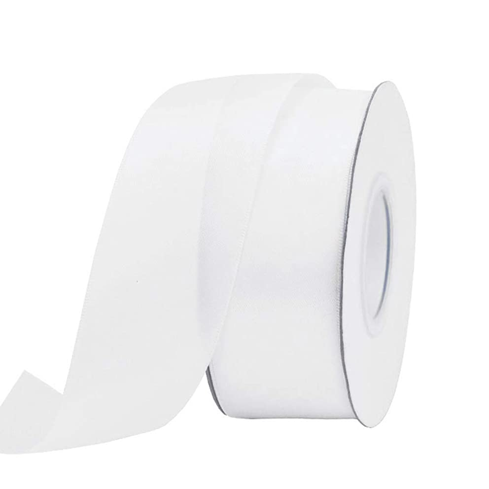 Ribest 1-1/2 inch 25 Yards Solid Double Face Satin Ribbon Per Roll for DIY Hair Accessories Scrapbooking Gift Packaging Party Decoration Wedding Flowers White