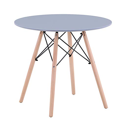 GOLDFAN Dining Table Modern Round Kitchen Table with Natural Beech Wood Legs and Matt Spray Paint, Grey, 80cm(Table Only)