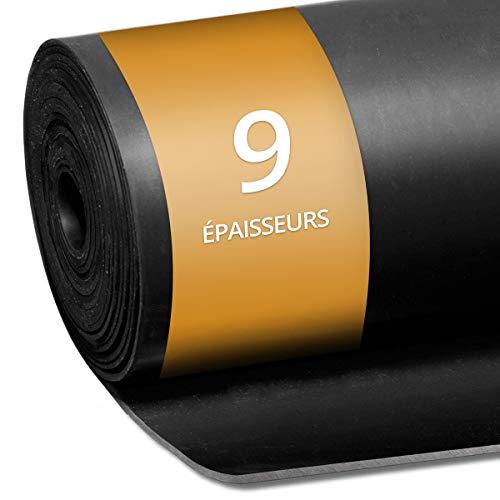 Rouleau Caoutchouc Antidérapant - Feuille de Caoutchouc NR/SBR | Plaque en Caoutchouc pour Projet Bricolage, Garage, Palette | 9 Epaisseurs au mètre | 120x100 cm (Epaisseur 1mm)